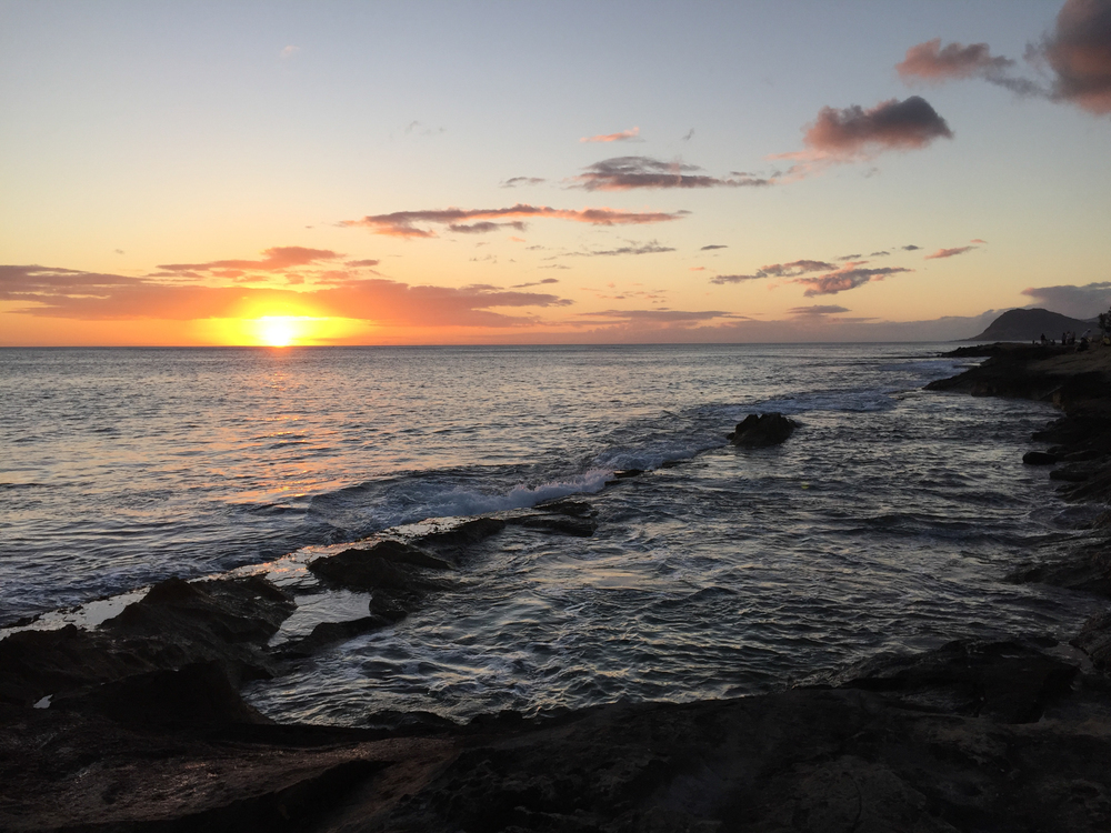 Sunset over Ka'ula Bay.
