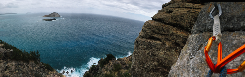 Rock climbing at Makapu'u Point.  It's a long way down!