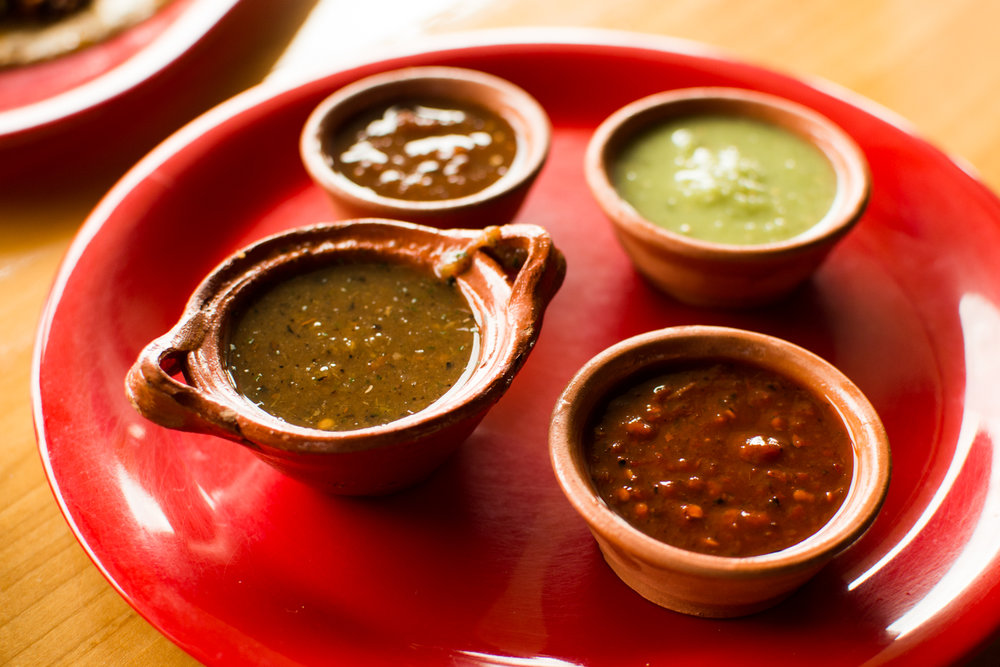 Roasted Tomatillo Salsa, Pulla y Arbol, Tomatillo y Aguacate, Morita.