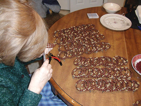 Creating the deep maroon rosary wraps