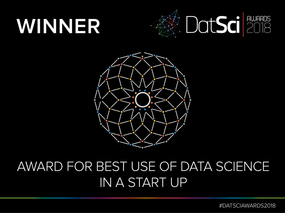 DatSci Awards 2018. Award for best use of data science in start up.