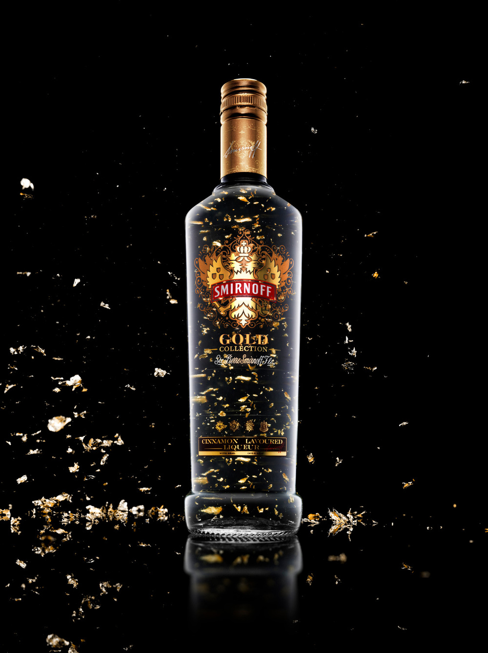 Food and Drink Photography Bottle Gold Leaf Smirnoff Vodka - Lux Studio