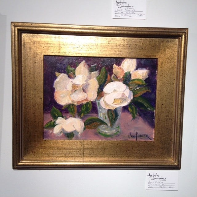 """Magnolia #1"" by Jane Kahler #oil on #canvas #artwork #available #forsale at the #artistsshowplacegallery in #Dallas #texasart #fineart #galleryart #painting"