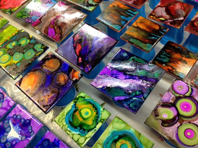 Alcohol Ink Ceramic Tile Coasters — The Artists Showplace