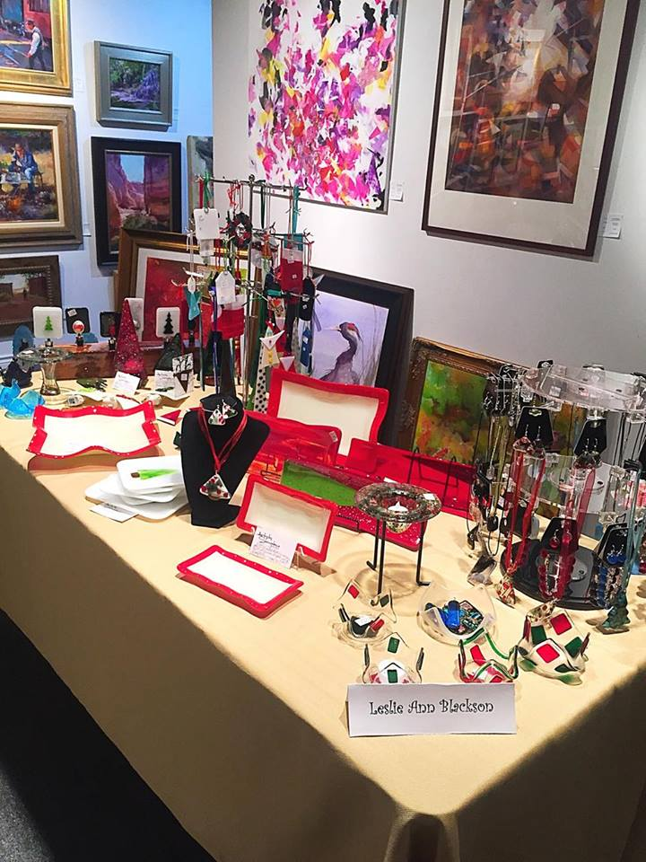 Artist, Leslie Ann Blackson, is on display NOW at the gallery! You don't want to miss her unique glass ornaments and kitchen wares!