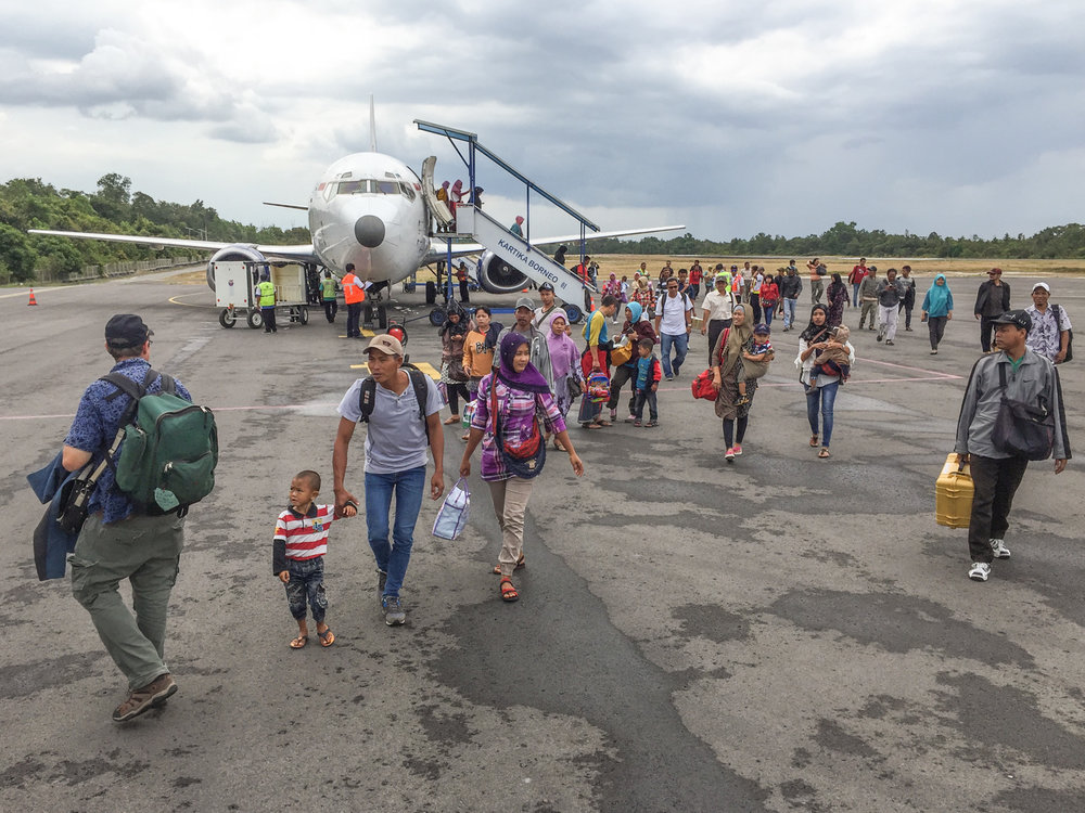 Getting off the plane at Pangkalan Bun, Kalimantan