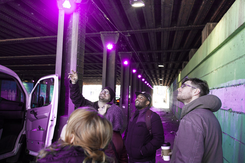 With funding from Conrail, NKCDC installed LED lights along the Lehigh Viaduct underpass at Frankford Avenue in 2016 .