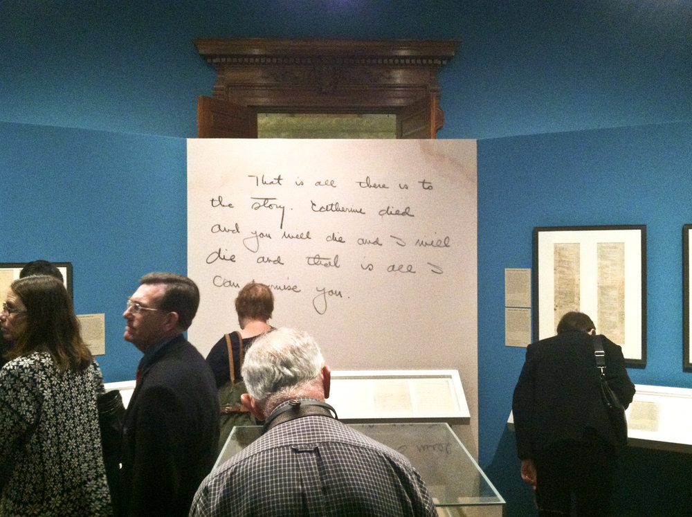 Morgan Library, New York, December 2015. Exactly two years later, I was startled to find this alternate ending to  A Farewell to Arms  enlarged on the wall of a Hemingway exhibit.