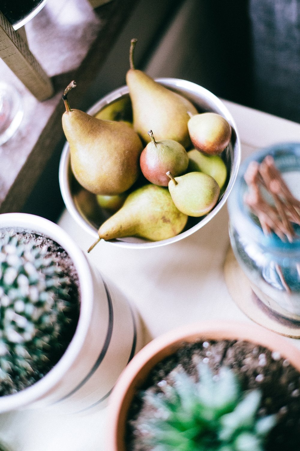Also on the plant stand is a bowl of pears in a silver Revere Bowl, which was brought during a back to school from a visit from his Grandma. Chris loves to mix different organic items on his plant stand.