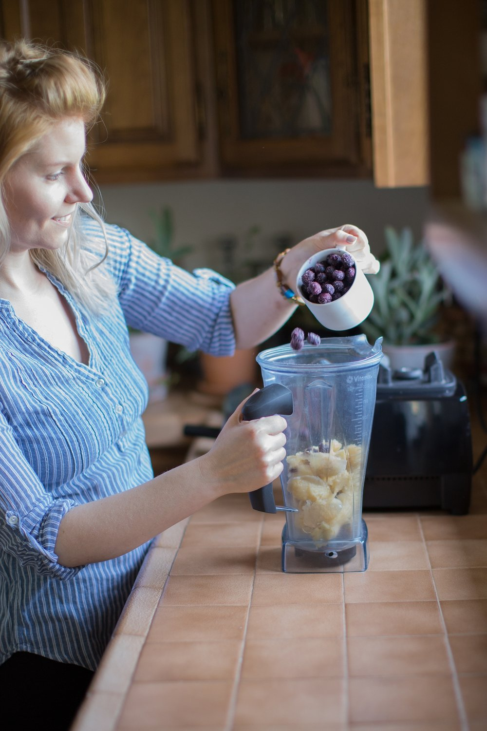 Step 2:  Put your fruit into your blender.