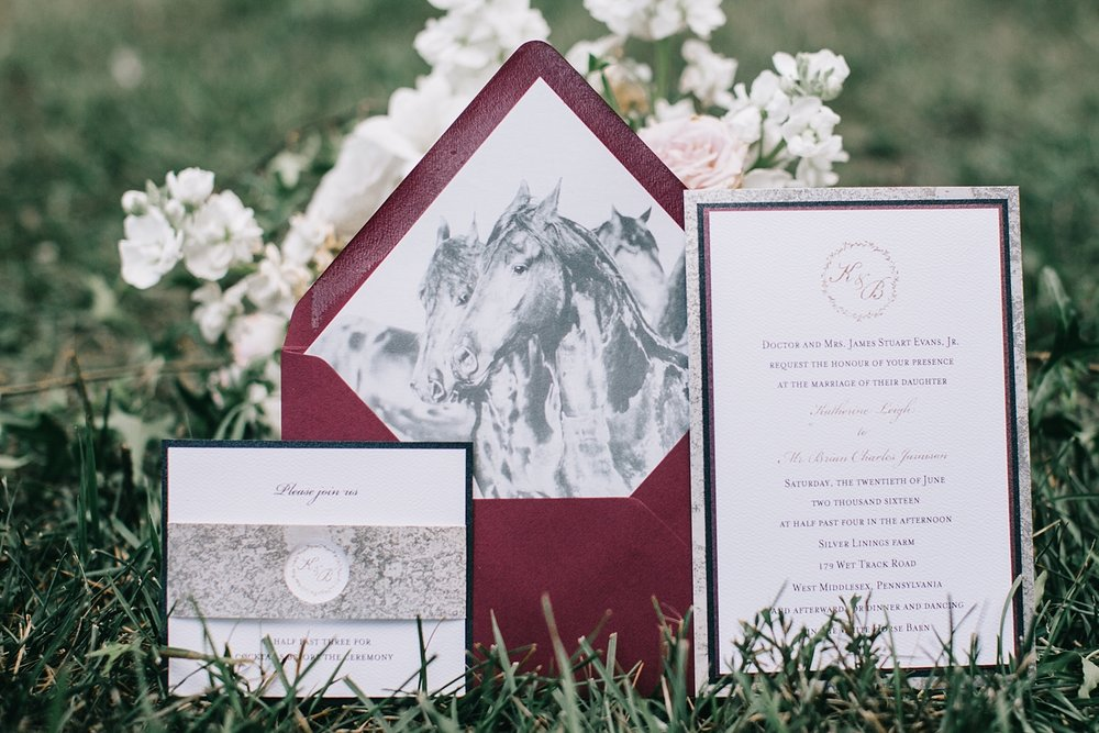 This gorgeous custom designed invitation suite from Dot & Bow Paperie included an envelope liner equine print from Tami Weingartner, as well as a mercury glass layer and sleeve, setting the expectation for what is to come.