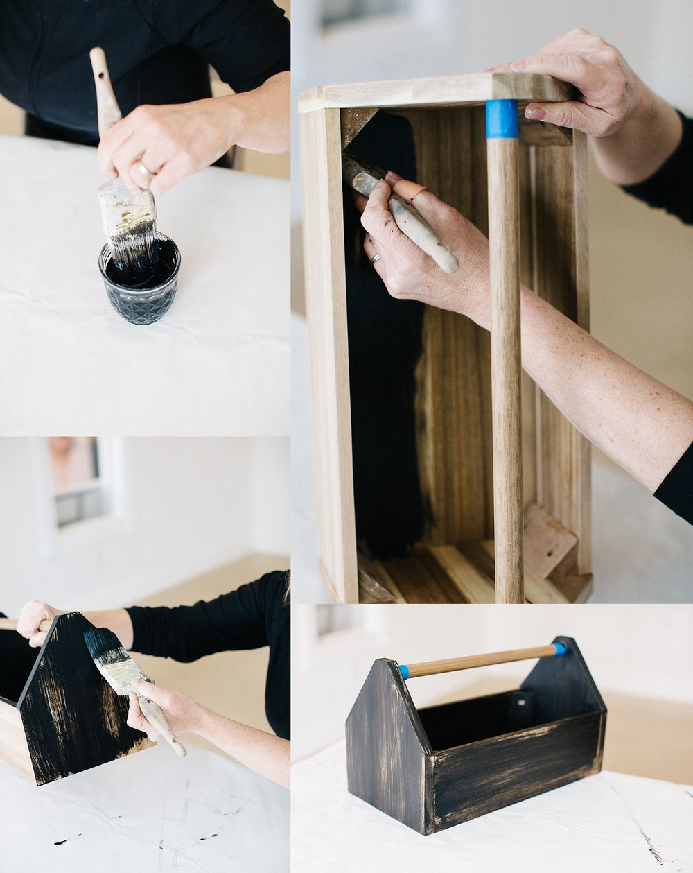 STEP 4:  This is the fun part! Paint your box starting with the inside and working your way to the outside. Jill gave the interior a solid coat of paint and let the wood grain peek through the exterior.