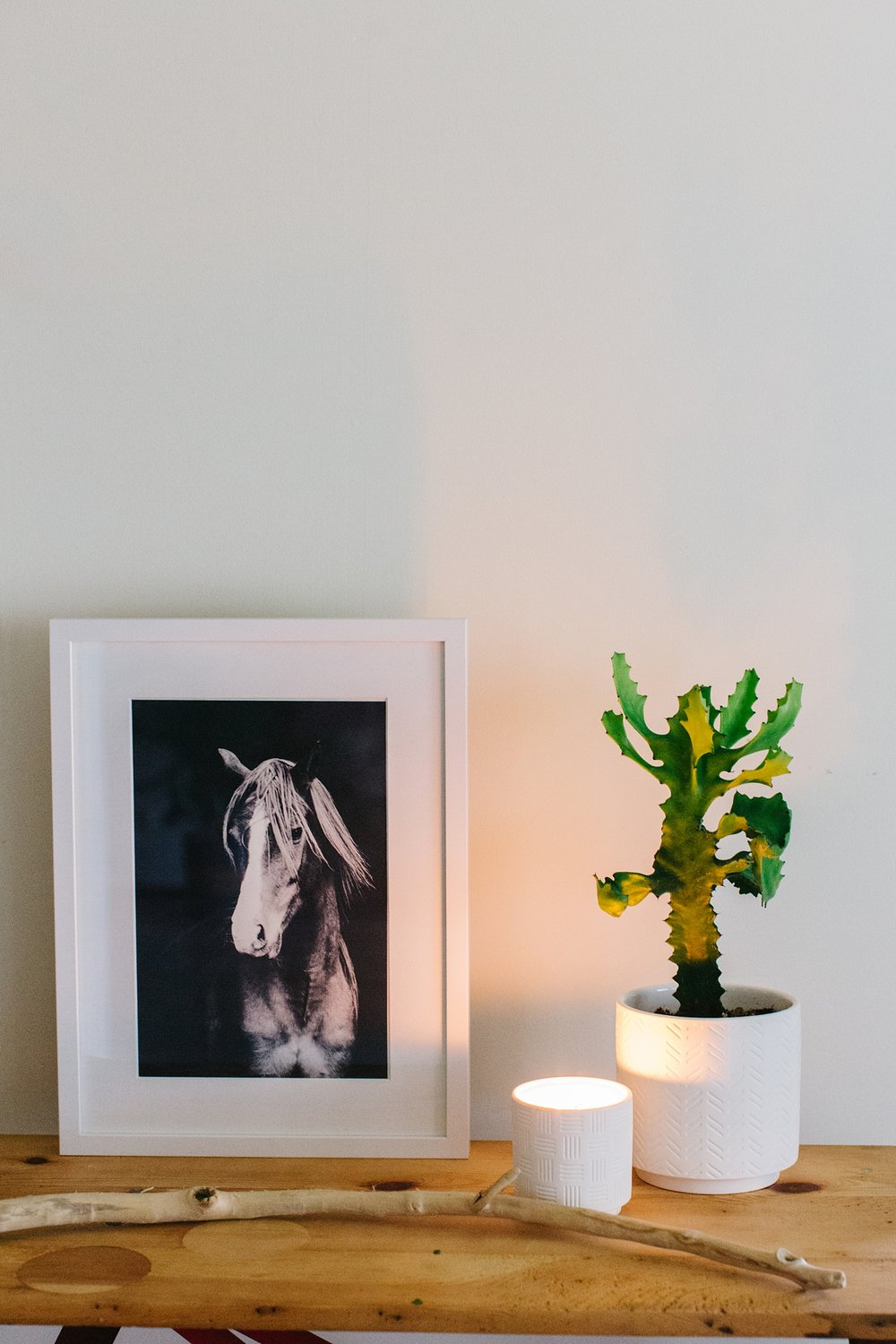 An black and white equine fine art print with a moody feel.