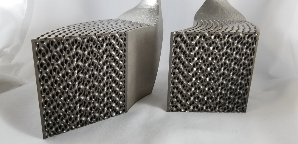 Heat exchanger demo part designed in nTopology Platform and printed by Velo3D.