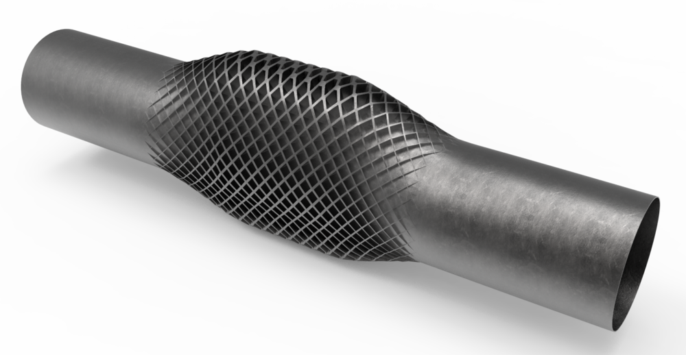 High-pressure duct with variable ribbing around elliptical section