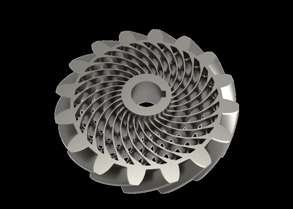 Gear light-weighted using a Schwarz D TPMS structure.