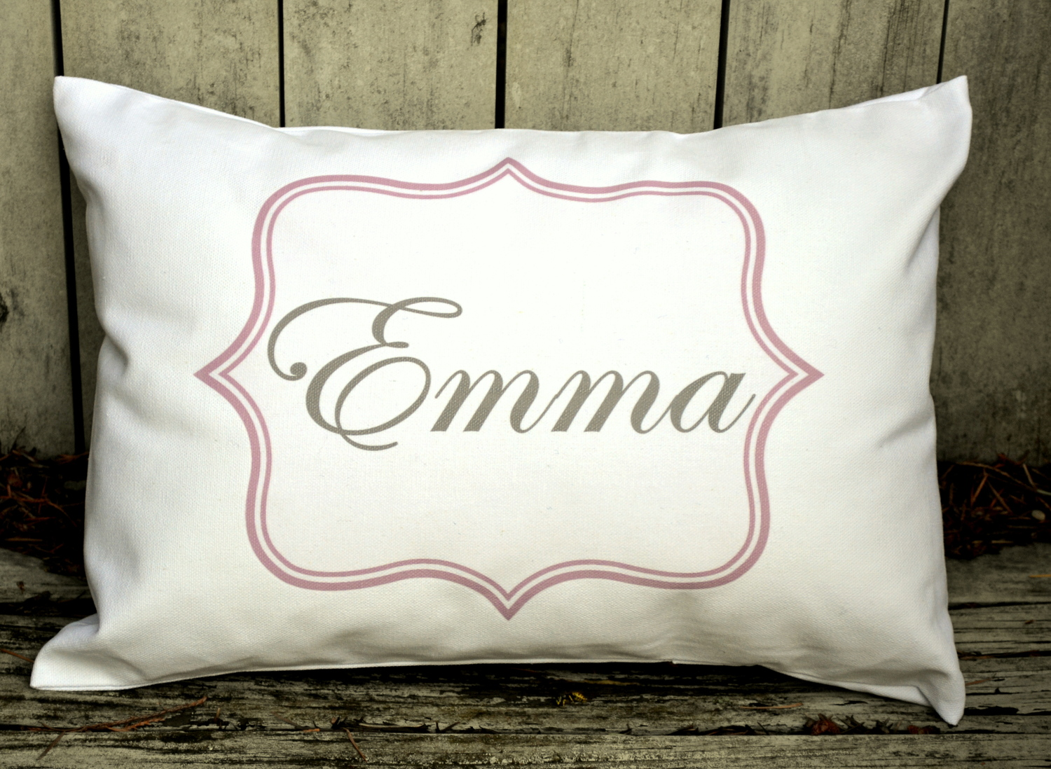 Girls Pink Frame, Fancy Name Baby Pillow — Feather Hen