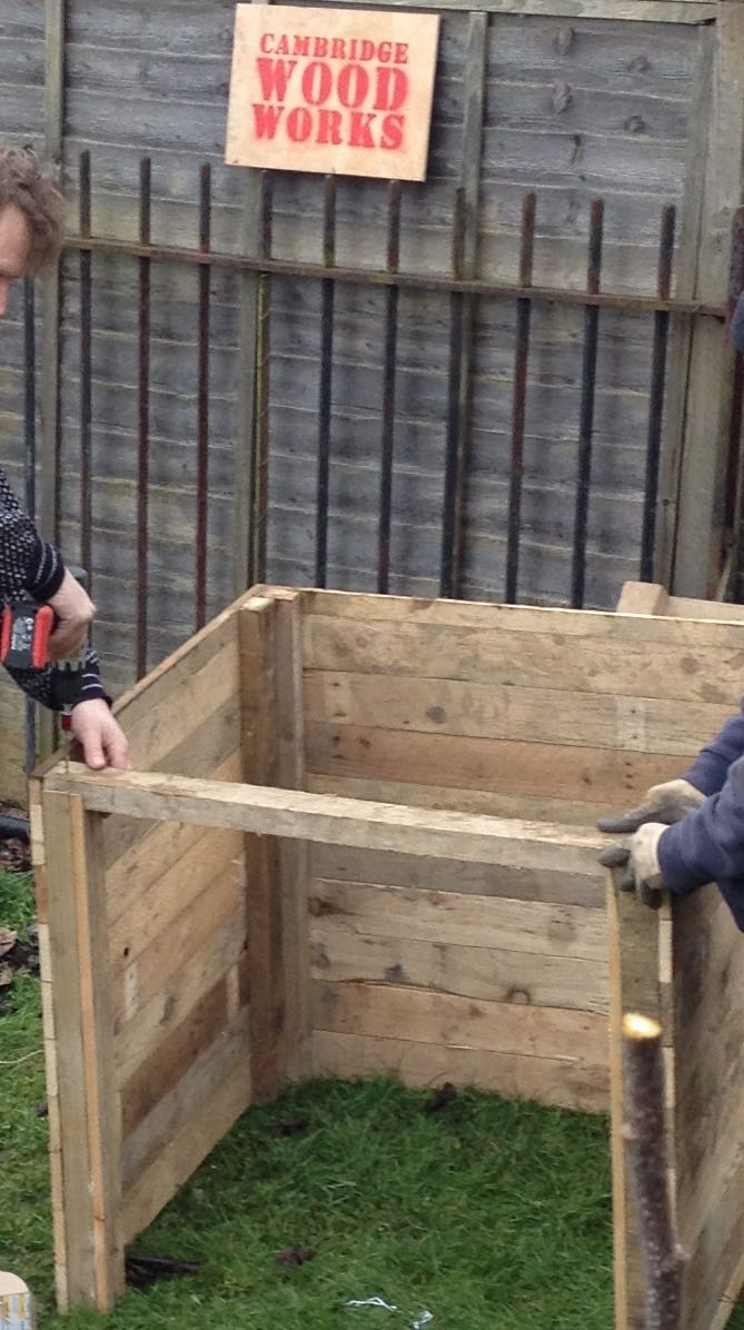 Cambridge Wood Works compost bin kit, made from dismantled pallets