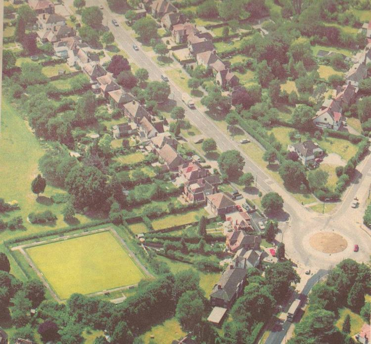 [?date?] Nightingale bowling green, from a facebook page on 'Cambs bowls and its history' (no longer online). Note there was only a very short hedge around the green.