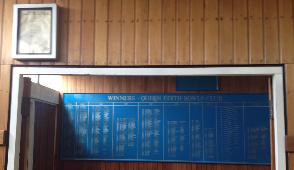 June 2015. Winners' board inside the Bowls Pavilion.