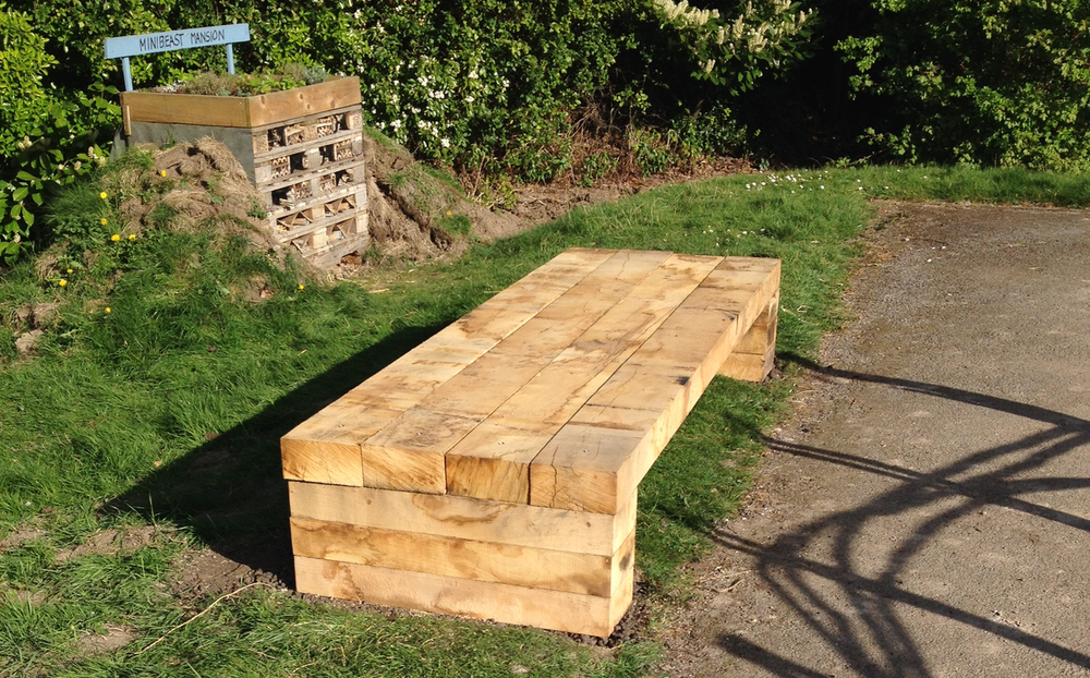 New bench made from oak sleepers