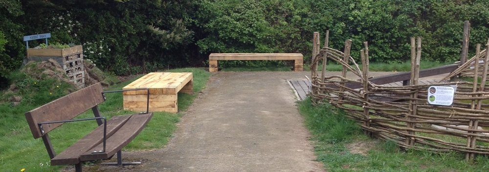 April 2017: new pond dipping benches/tables. They are very popular with visiting families too!
