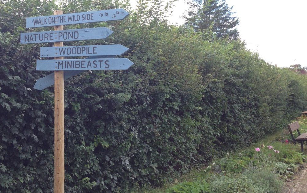 Our signpost has been a LONG time in gestation. Thanks to Bob for the signwriting! And now our bumblebees (on the back of the sign) have no excuse to get lost on their way home...