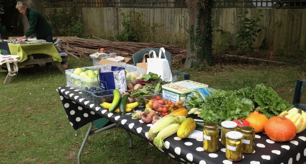 Just setting up... lovely produce from local gardens (including Nightingale) and plots.