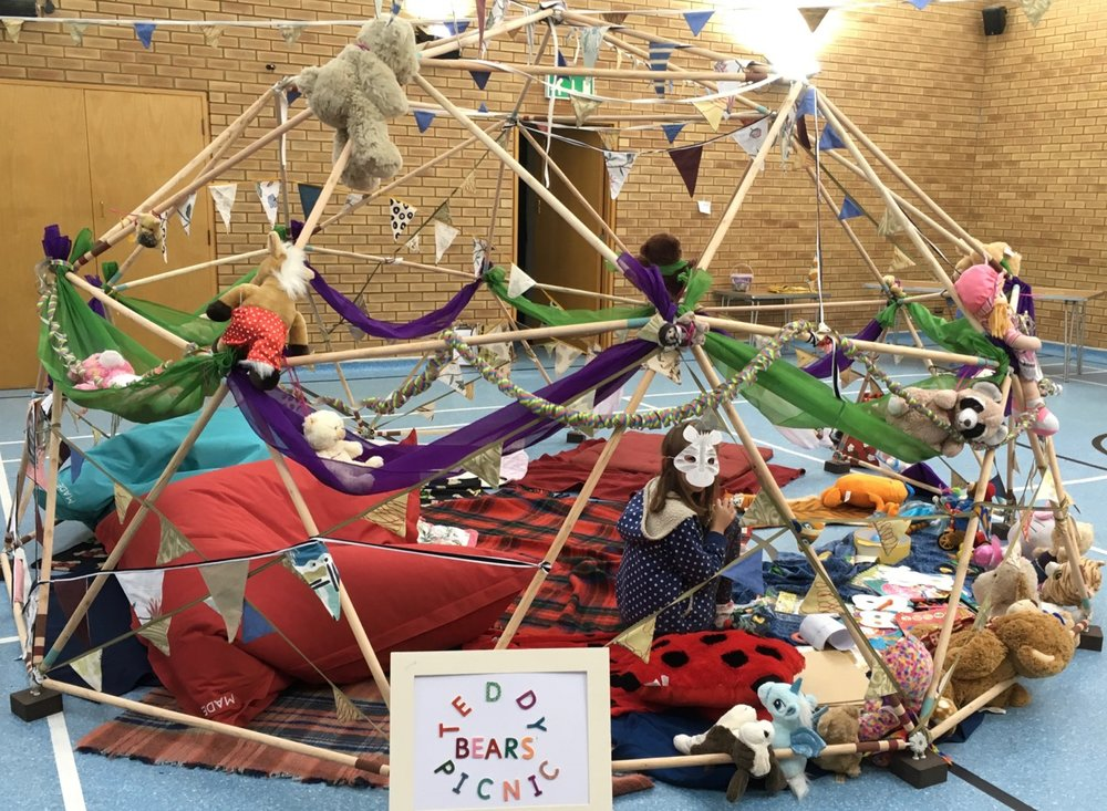 September update: so we painted stripes on it and decorated it for the Queen Edith's Share Fair, which we had to do inside a local sports hall because rain was forecast. Thanks to Emma, Sophie and Lucy for the exuberant and joyful decorations, including tiger disguise masks.
