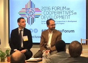 Rodrigo Gouveia, left, at NCBA CLUSA's Cooperative Devleopment Forum in October.