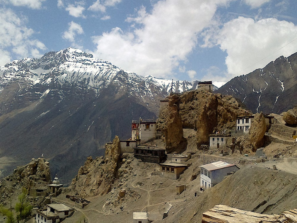 Dhankar Monastery, Spiti Valley Himachal Pradesh, India -  Spiti Valley remote jaw-dropping landscape with mountain clinging places of worship . The culture in this area is heavily Tibetan Buddhism.
