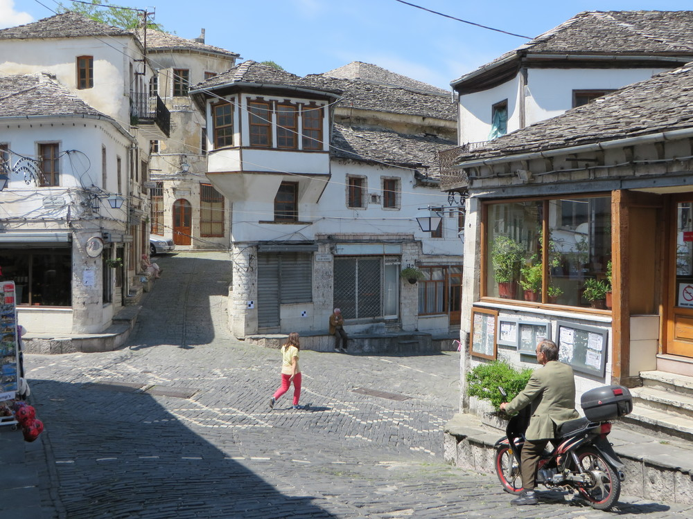 Gjirokaster, Albania - an ancient UNESCO Heritage Site town in southern Albania. Very steep narrow streets made of black granite.