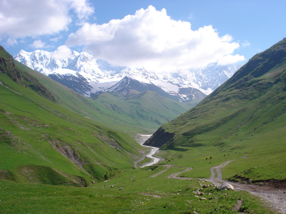 Upper Svaneti region of Georgia (hiking towards Mount Shkhara highest mountain in Georgia at 17,100 ft)