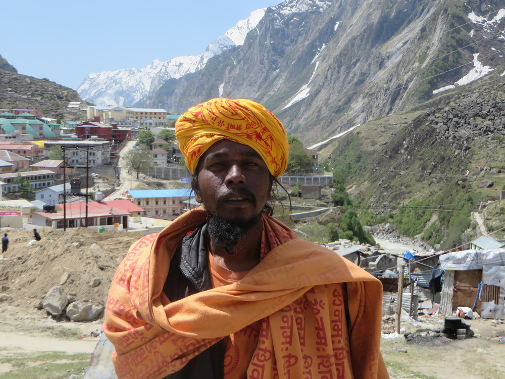 "A Hindu Holy man known as a ""Sadu"" in the religious pilgrimage town of Badrinath"