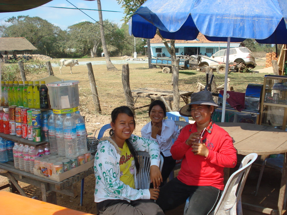 Road-side refreshment stand in south-central Cambodia