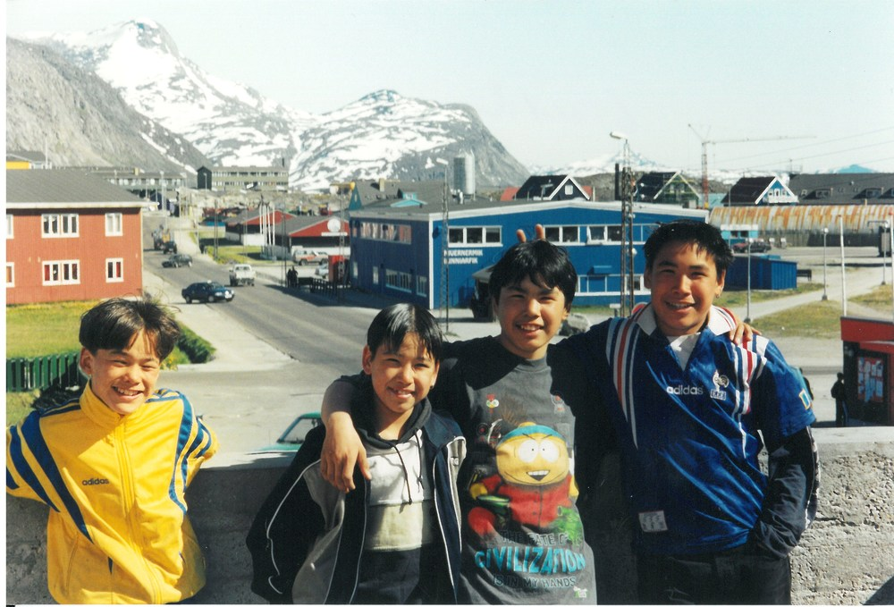 Young kids hanging out in Nuuk, the capital of Greenland on the west coast.
