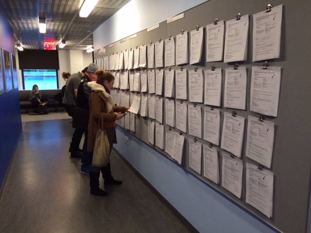 AEA members checking out the posted audition notices in February of last year.