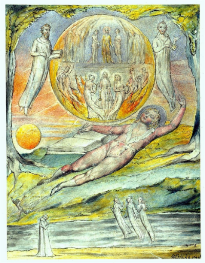 William Blake - The Youthful Poet's Dream ~1820.  From a series of illustrations inspired by John Milton's L`Allegro and Il Penseroso