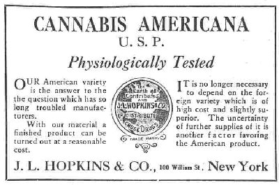 Advertisement for  cannabis americana  from a pharmacist in New York, 1917