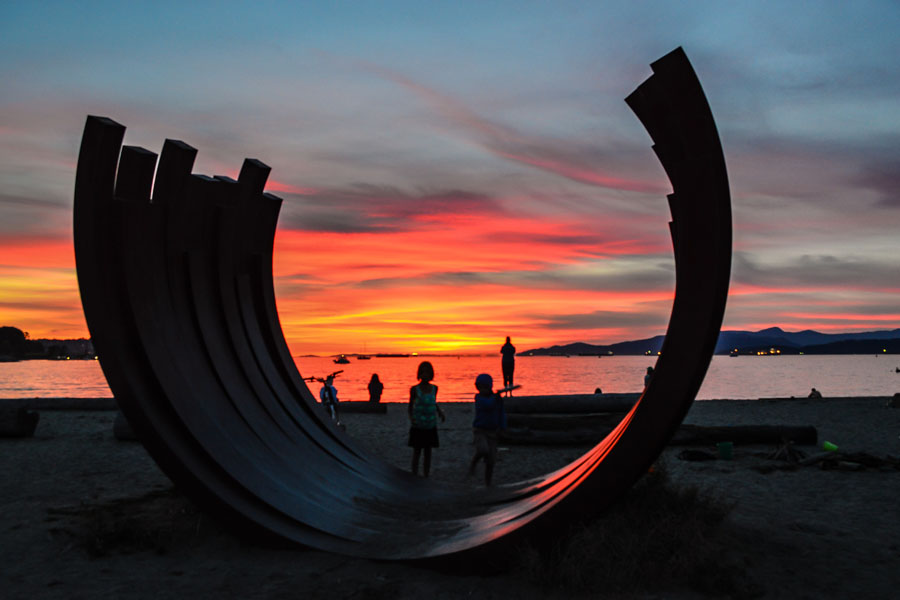 "The public art installation, ""217.5 Arcs x 13"", by French artist Bernard Venet, was acquired by the Vancouver Biennale Legacy Foundation in 2007. It now resides at Sunset Beach in Vancouver, Canada."
