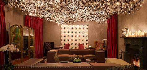 Julian Schnabel conceived this unique art installation with over 4000 light bulbs that is located on the Gramercy Park Hotel's top floor in the Drawing Room.