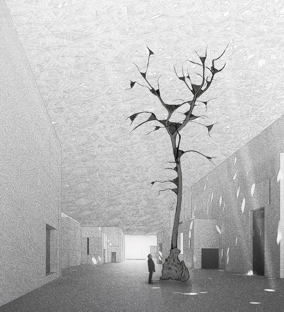 """Italian artist Giuseppe Penone's site specific installation, """"Germination"""", for the Louvre Abu Dhabi."""