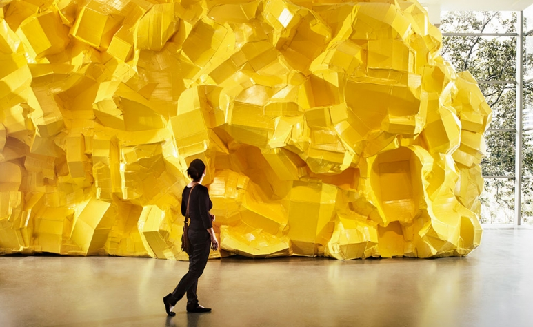 "Art Basel Hong Kong 2016, the magnificent installation ""Yellow Structure"" (2016) by Richard Maloy."