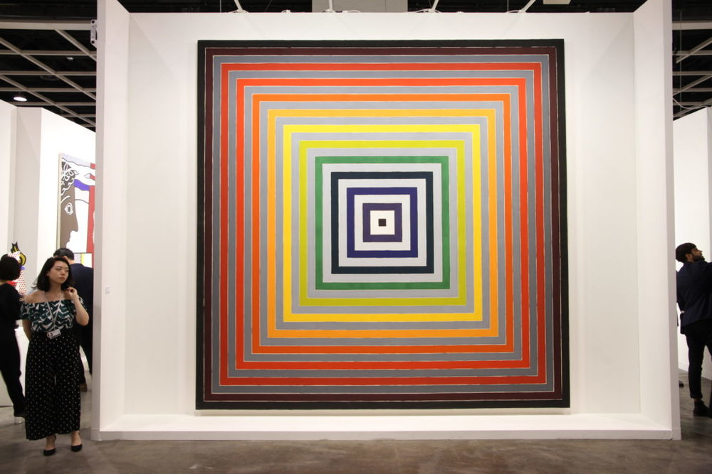 "Established American artist Frank Stella. This artwork was just exhibited at Art Basel Hong Kong 2017 and is entitled, ""Lettre sur les sourds et muets I"" (1974). Photo by Henri Neuendorf."