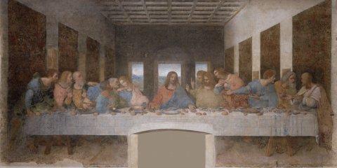 "Leonardo da Vinci's iconic Renaissance masterpiece ""Last Supper"" completed around 1498."