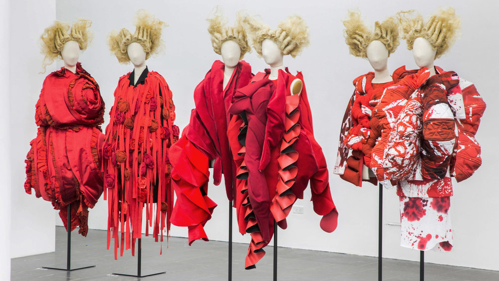 "Sculptural clothes by Japanese designer Rei Kawakubo now on view at the MET in the ""Rei Kawakubo/Commes des Garçons: Art of the In-Between"" Exhibition."