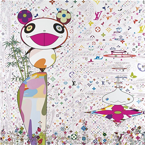 """The World of Sphere"" (2003) painting by Takashi Murakami in collaboration with French fashion brand Louis Vuitton."