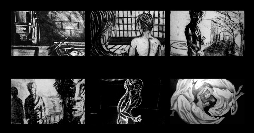 Sample Storyboard Images from the motion picture, Charcoal on Paper by Francisco Escobar
