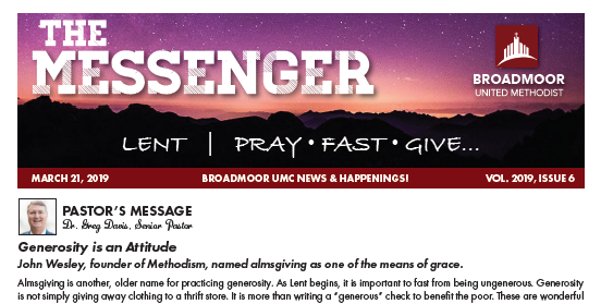 THE MESSENGER 3/21/19 - Remember to order Easter LiliesMusic MinistryChildren's MinistryThe Riverand much, much more…