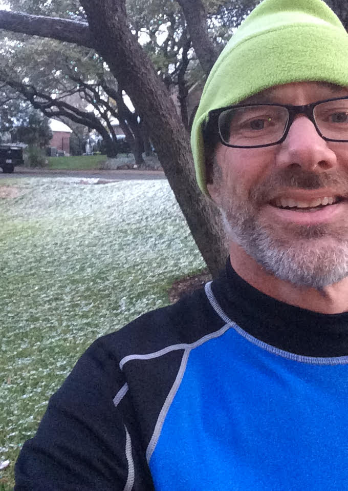 Going for a training run just after the 2017 Austin snow storm.